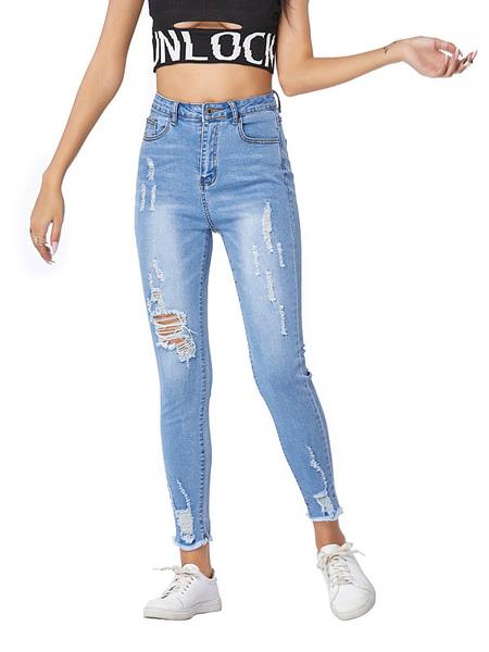 Image of Mom Jeans Donna Jeans azzurri Jeans a vita alta in poliestere Pantaloni strappati skinny Jeans da cowboy