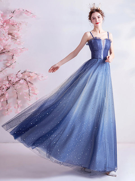 Milanoo Evening Dress A Line Ankle Length Pleated Ankle Length Social Party Dresses Cami Maxi Dinner