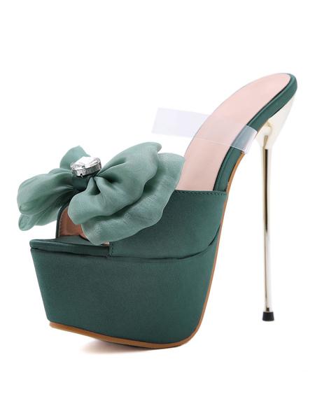 Milanoo Women High Heel Sexy Sandals Green Satin Almond Toe Stiletto Heel Sexy Shoes Stripper Shoes