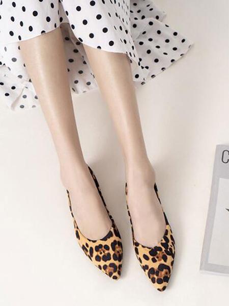 Milanoo Womens Ballet Flats Deep Brown Terry Pointed Toe Leopard Print Ballerina Flats
