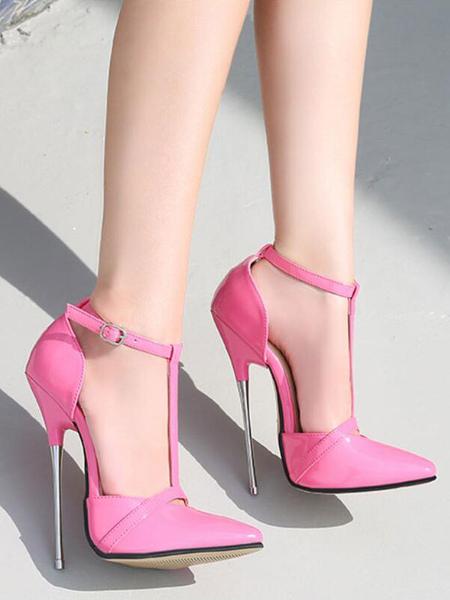 Image of Donna rosa tacchi alti magenta punta a punta scarpe sexy tacco a spillo in pelle PU tacchi sexy cinturino alla caviglia