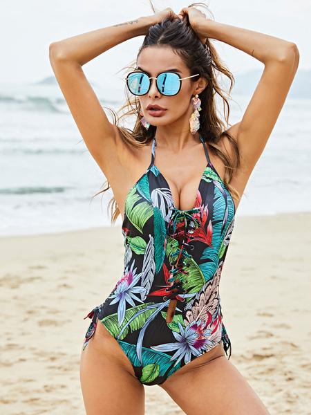Milanoo Green Monokini Plus Size V-neck Spaghetti Straps Lace Up Polyester Summer Sexy Beach Swimmin