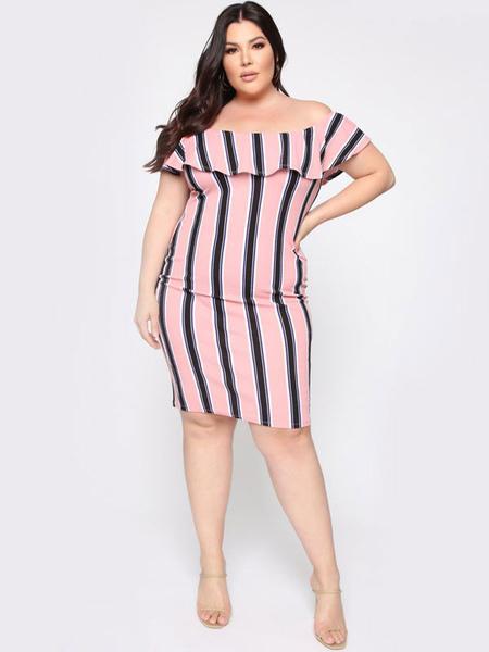 Milanoo Plus Size Bodycon Dress Bateau Neck Stripes Pattern Polyester Layered Summer Midi Dress