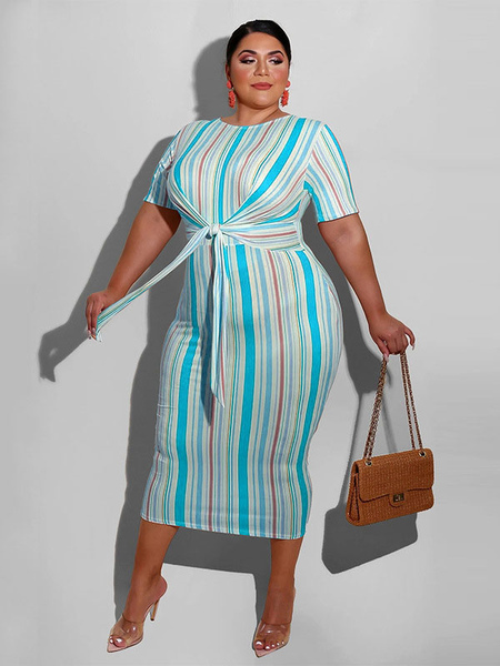 Milanoo Plus Size Blue Bodycon Dress Jewel Neck Short Sleeve Stripes Pattern Lace Up Casual Long Dre