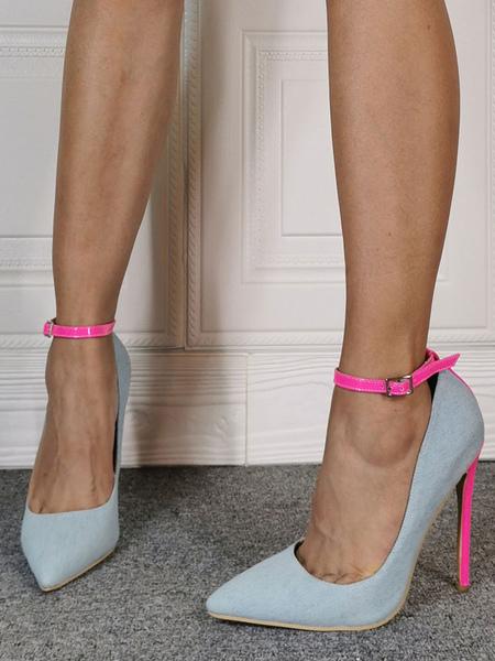 Image of Tacchi alti da donna Tacchi a spillo con punta a punta Tacco a spillo Moda Tacchi alti con cinturino alla caviglia azzurri