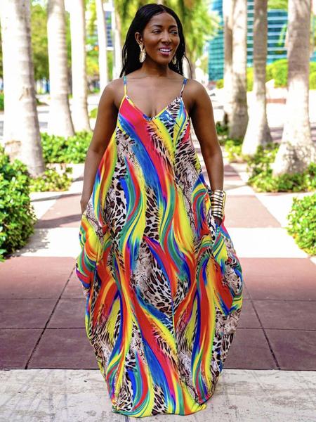 Milanoo Maxi Dresses Sleeveless Leopard Leopard Print V-Neck Pleated Backless Polyester Long Dress