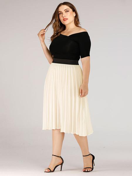 Milanoo Plus Size Skirt White Elastic Waist Polyester Knee Length Summer Bottom