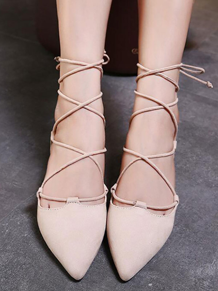 Milanoo Ballet Flats Apricot Terry Pointed Toe Lace Up Ballerina Flats
