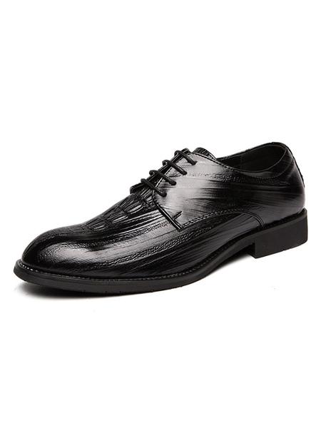 Milanoo Man′s Dress Shoes Modern Round Toe Strap Adjustable PU Leather