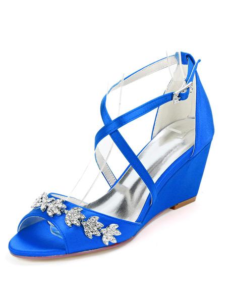 Milanoo Wedding Shoes White Satin Rhinestones Open Toe Wedge Heel Bridal Shoes