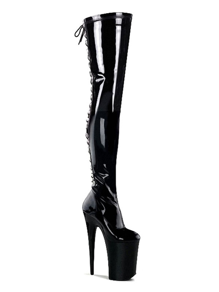 Milanoo Women′s Sexy Thigh High Boots Lace Up Platform Sky High Stiletto Heel Boots Stripper Shoes i