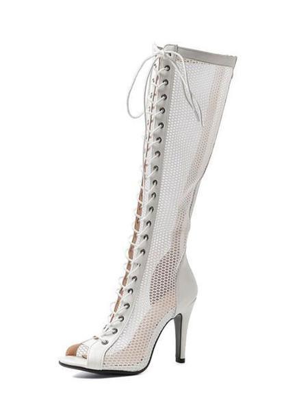 Milanoo Women′s Fishnet Stiletto Heel Knee High Summer Boots