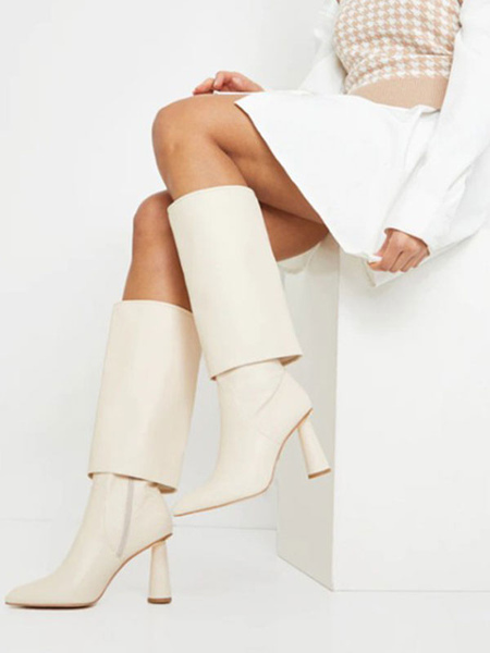 Milanoo Mid Calf Boots For Women Ecru White PU Leather Pointed Toe Chunky Heel Mid Calf Boots