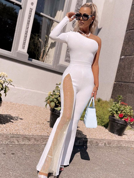 Milanoo White Jumpsuit One Shoulder Long Sleeves Cut Out Irregular Polyester Flared Split Summer One