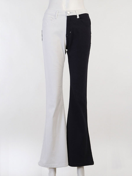 Milanoo Women Pants Color Block Black White Zipper Polyester Zipper Fly Raised Waist Two Tone Flared