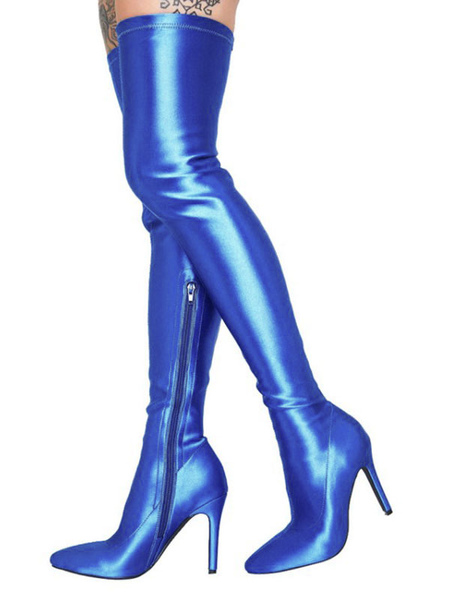 Milanoo Over The Knee Blue Pointed Toe thigh High Boots