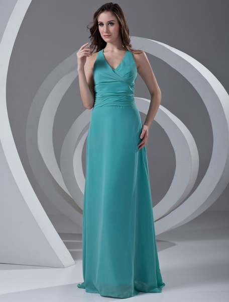 Chiffon Bridesmaid Dress Halter Turquoise V Neck Long Prom Dress Backless Ribbon Bow  Floor Length W
