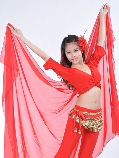 Shawl Belly Dance Costume Red Chiffon Bollywood Dance Accessories, Milanoo  - buy with discount