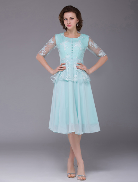 Chiffon Prom Dress Mint Green Round Neck  Party Dress Lace Half Sleeve Front Button Cocktail Dress