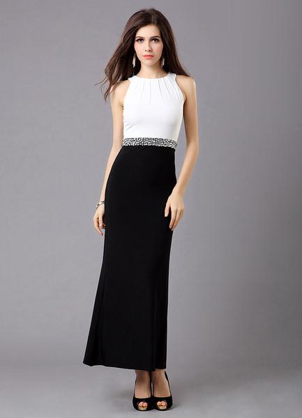 Charming Jewel Neck Rhinestone Sheath Sleeveless Women's Evening Dress, Milanoo, White  - buy with discount