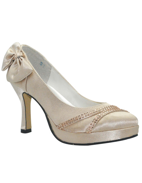 Bow Round Toe Satin Pumps For Bride, Milanoo, Champagne  - buy with discount