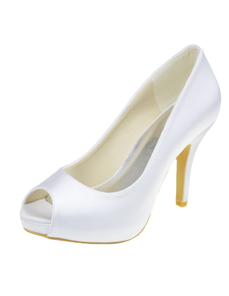 Fabulous White Silk And Satin Peep Toe Pumps For Bride, Milanoo  - buy with discount