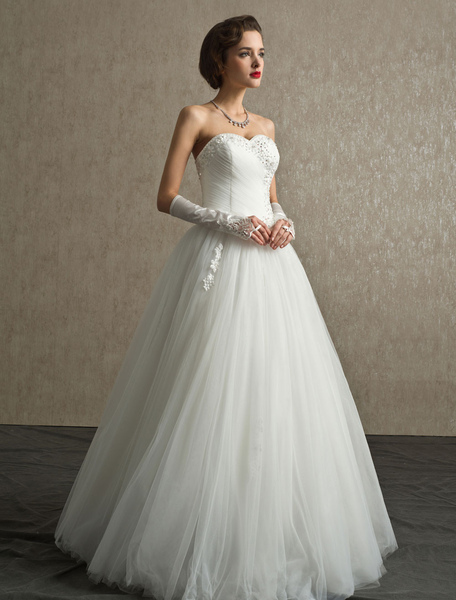 Rhinestone A-line Floor-Length Ivory Wedding Dress with Sweetheart Strapless Neck, Milanoo  - buy with discount