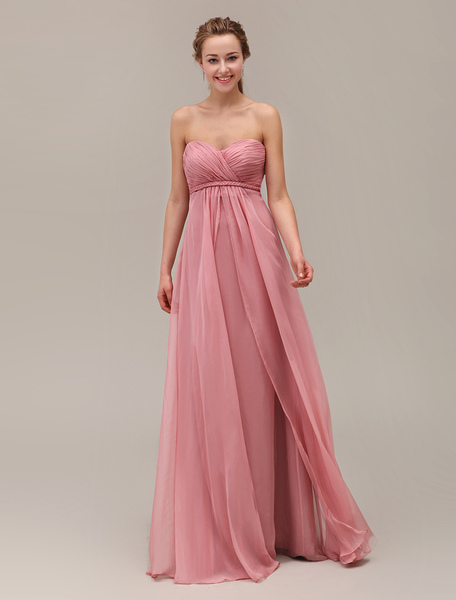 Salmon Bridesmaid Dress Sweetheart Pleated Floor Length Chiffon Wedding Party Dress Milanoo