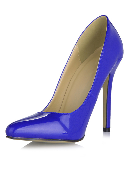 Charming Deep Blue PU Leather Pointed Toe Stiletto Shoes, Milanoo, Deep Blue, Ivory, Red, Yellow  - buy with discount