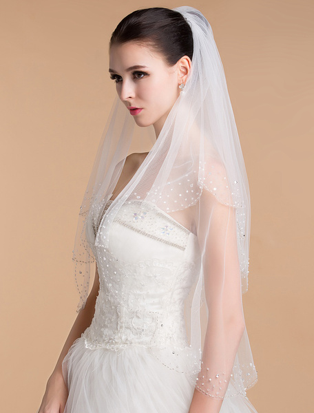 Two-Tier Sequined Wedding Veil With Handmade Beads(65*90cm)