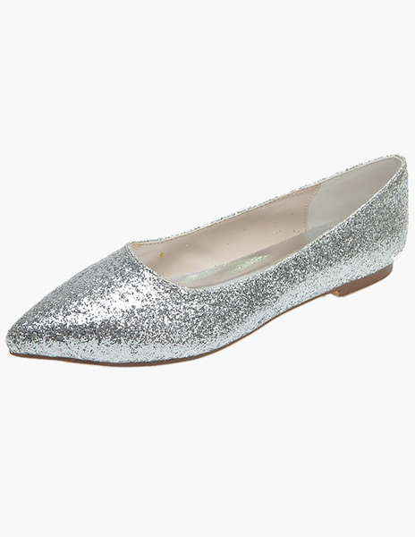 Pointed Toe Sequined Cloth Evening Flats