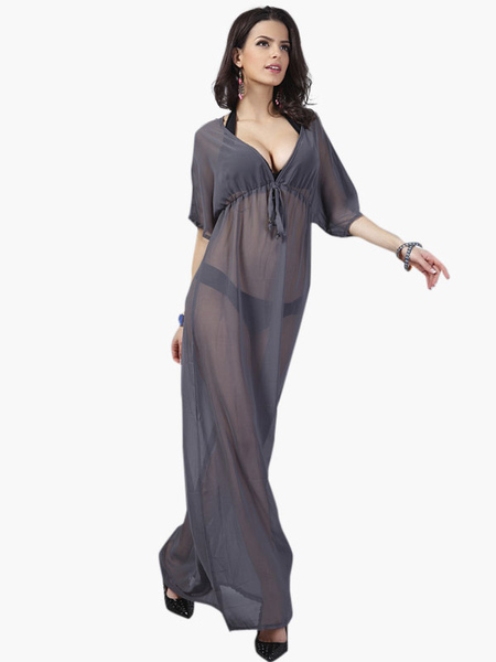Deep Gray Chiffon Sheer Lace up Plunging Neckline Cover Up