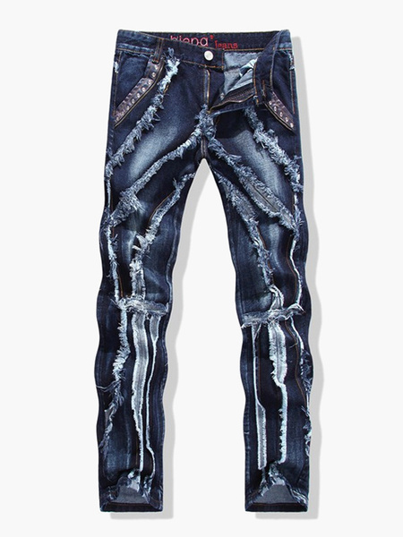 Blue Denim Quality Straight Men's Jeans, Milanoo  - buy with discount