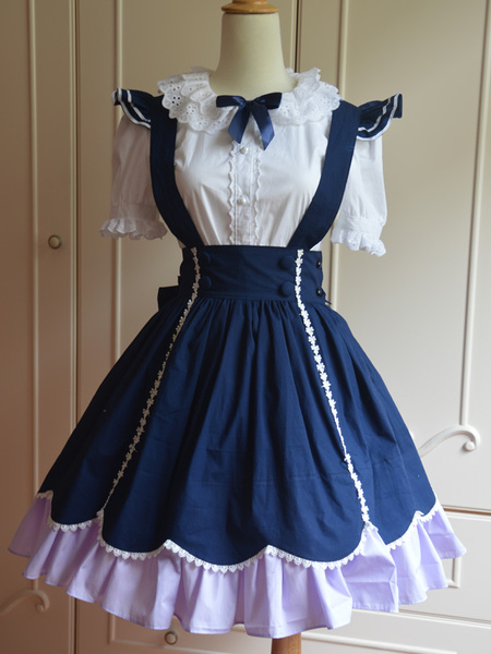 Sweet Blue Cotton Short Sleeves Lolita Outfits