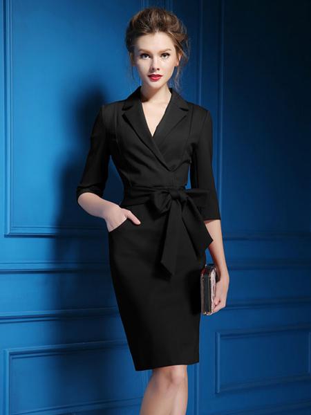 Image of Vestito aderente da donna 2021 Abito da lavoro in poliestere a mezza manica con vestito aderente da donna in nero e rosso