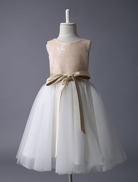 Champagne Flower Girl Dress Sequin Tulle Pageant Dress A Line Knee Length Toddler's Dinner Dress Wit