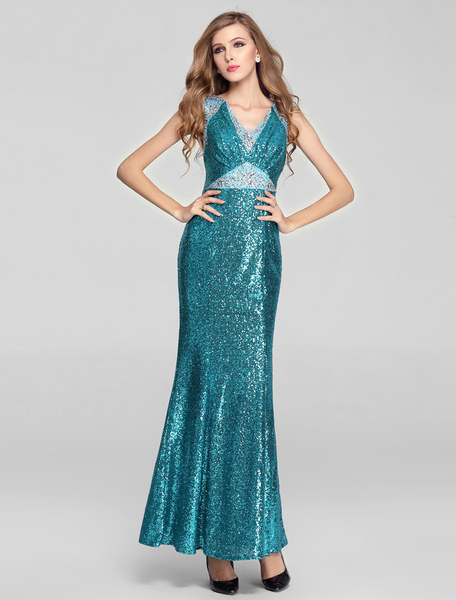 Blue Mermaid Sequin Dress Waist Double V-Look Rhinestone Beading
