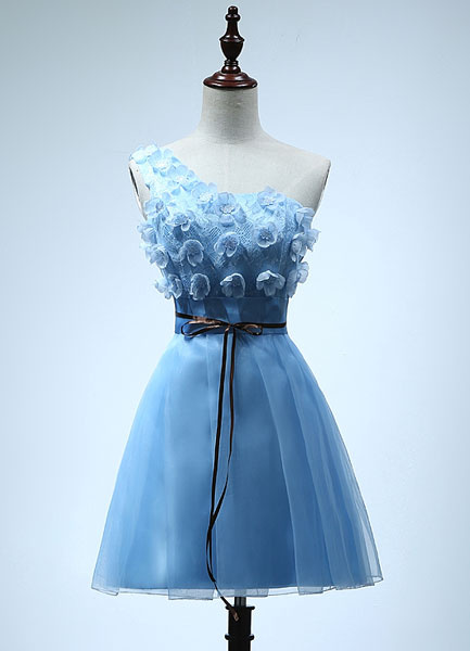 One Shoulder Bridesmaid Dress Tulle Party Dress Cyan Flower Drawstring Empire Cocktail Dress