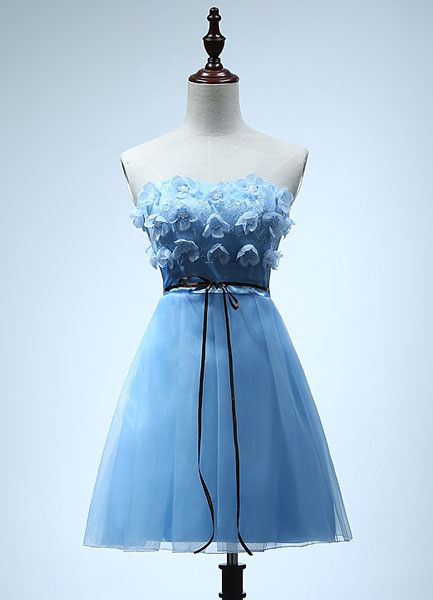 Cyan Tulle Bridesmaid Dress Strapless Empire Drawstring Mini Party Dress With Flower