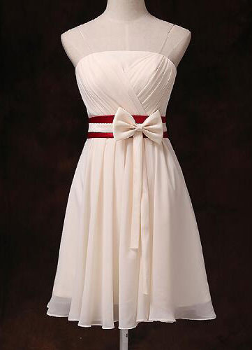 Gold Champagne Bridesmaid Dress Strapless Pleated Ribbon Bow Sash Short Chiffon Bridesmaid Dress