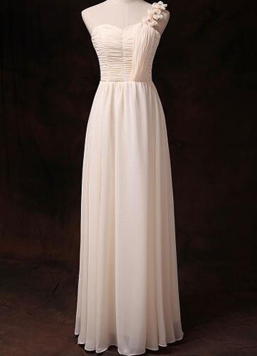 Chiffon Bridesmaid Dress Gold Champagne One Shoulder Sweetheart Empire Waist Long Bridesmaid Dress