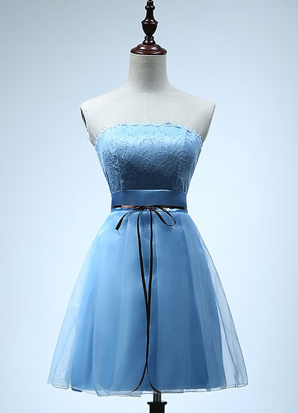 Strapless Bridesmaid Dress Short Tulle Party Dress Cyan Drawstring Empire Cocktail Dress