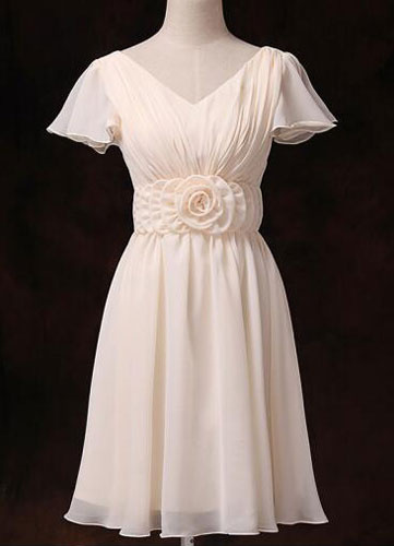 Chiffon Bridesmaid Dress Short Sleeve V Neck Gold Champagne Waist Flowers Short Bridesmaid Dress