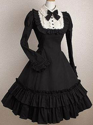 Gothic Lolita Dress OP Black Bows Ruffles Cotton Lolita One Piece Dress