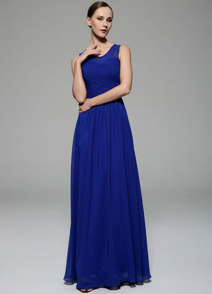 Royal Blue Bridesmaid Dress Sheath Cut-Out Pleated Chiffon Prom Dress