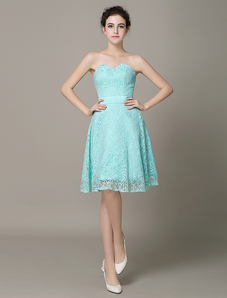 Cockatoo Short Bridesmaid Dress Lace Strapless A-line Cocktail Dress