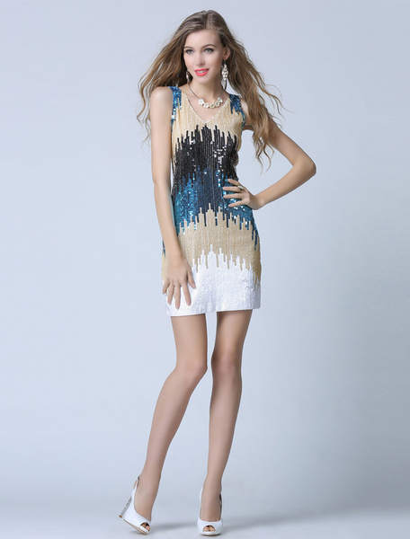 Multicolor Cocktail Dress Sequins Slim Fit Dress