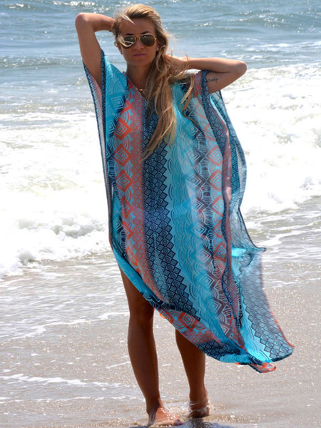 Blue Cover Up Oversized Chiffon Cover Up For Women