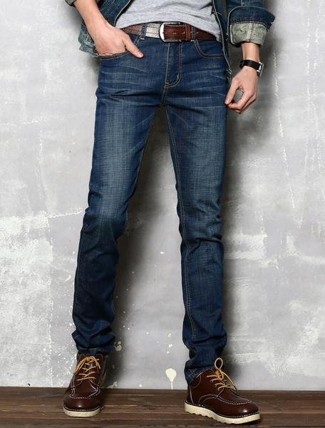 Deep Blue Jeans Straight Denim Slim Fit Jeans for Men