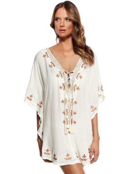 White Cover Up Deep-V Print Lace Up Cover Up For Women